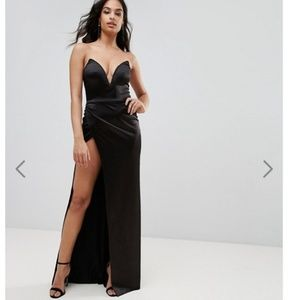 Plunge Front Bandeau Maxi Dress With Thigh Split